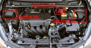 lokazlizacja skrzynka bezpieczników komora silnika toyota yaris iii